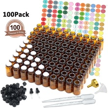 100 Packs Oil Bottles for Essential Oils 2 ml (5/8 Dram) Amber Glass Vials