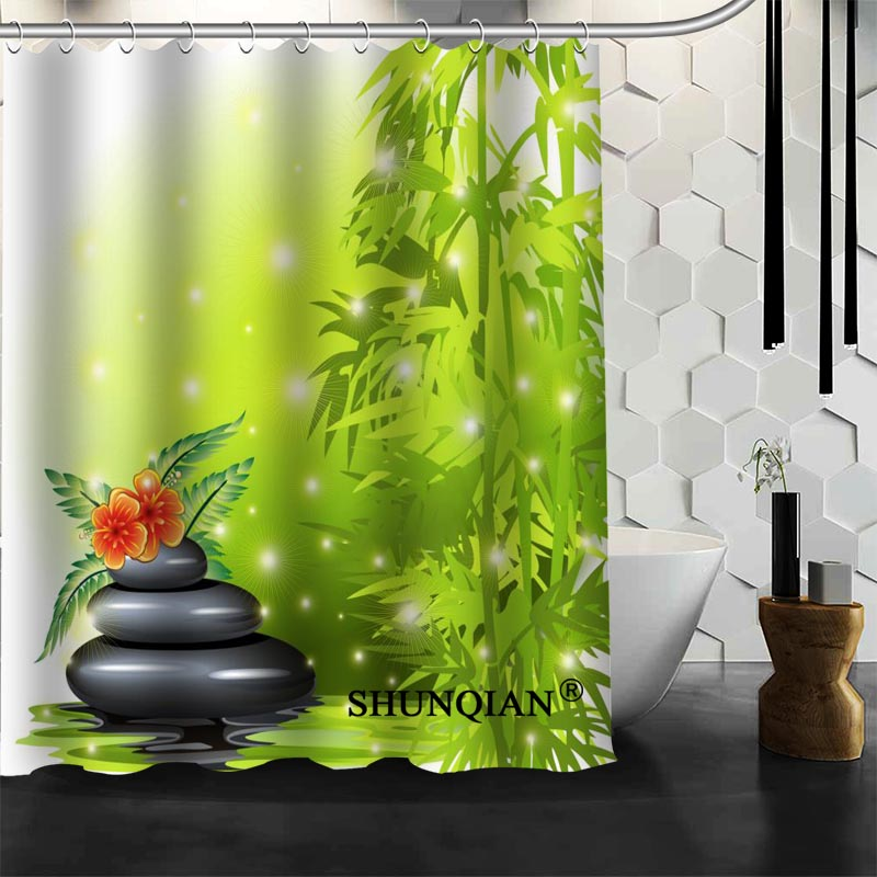 Best Nice Custom Orchid Stones Zen Shower Curtain Bath Curtain Waterproof Fabric Bathroom Curtain MORE SIZE A6.1-106