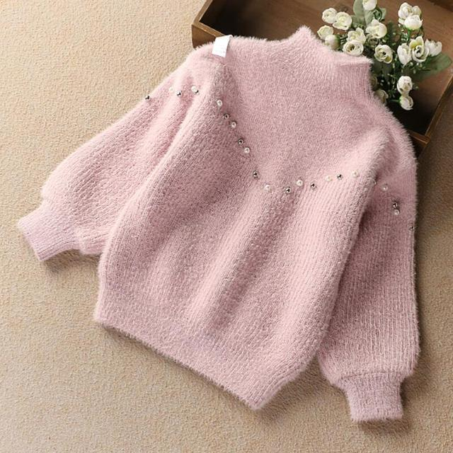 6f0213ee5 2019 Toddler Teenager Girls Sweaters Tops Spring Autumn Winter Long Sleeve  Pearls Knit Kids Sweater For Girl Children's Clothes