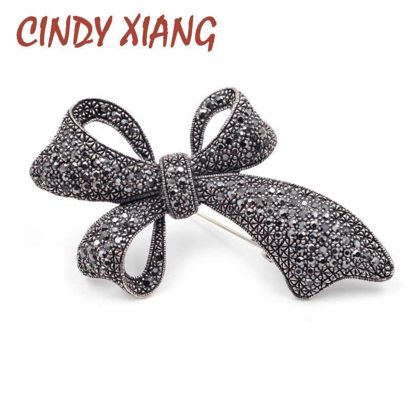 Cindy Xiang Cute Vintage Berlian Imitasi Busur Bros untuk Wanita Besar Elegan Ikatan Simpul Pin Bros Gaya Musim Dingin Kualitas Tinggi Bros Hadiah