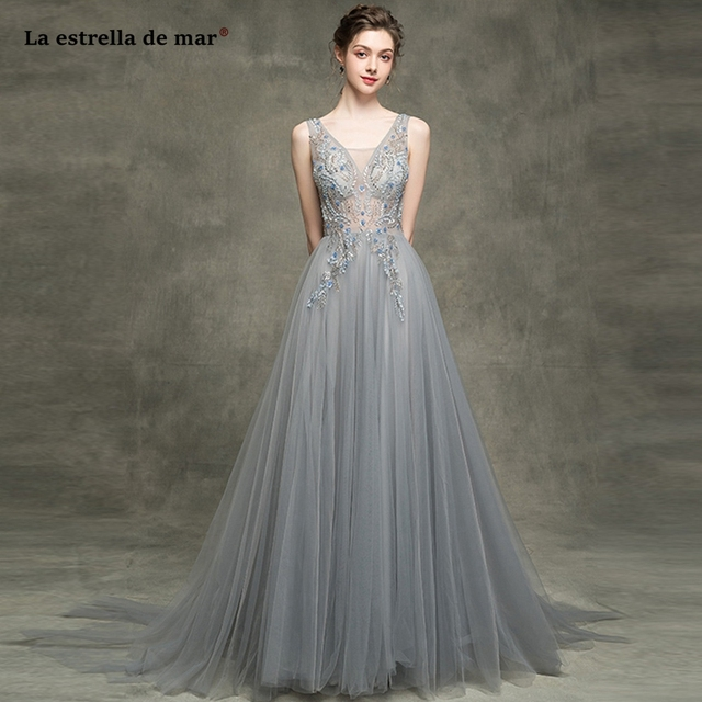 2fcf945b5548c Vestido madrinha2019 new sexy V neck tulle crystal A Line grey bridesmaid  dresses long luxury wedding guest gown high quality