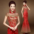 Chinese style gold thread tulle lace fabric embroidery phoenix cheongsam evening dresses long red mermaid lady short sleeve 2017