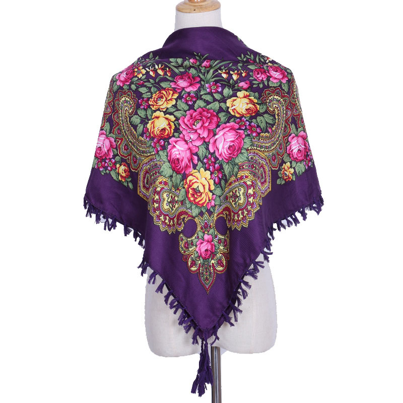 2018 New Arrival Winter Warm Russian Scarf Wrap Women Print 90*90 Square Scarves Cotton Muslim Headscarf Fashion Decoration