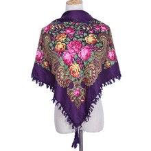 Écharpe carrée en coton chaud pour femmes, foulard russe, imprimé, foulard carré, foulard musulman, à la mode, décoration hiver 2018, nouveauté