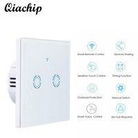 QIACHIP EU Plug White Wall Waterproof Switch Touch Sensor Switch 2 Gang 1 Way Remote Control