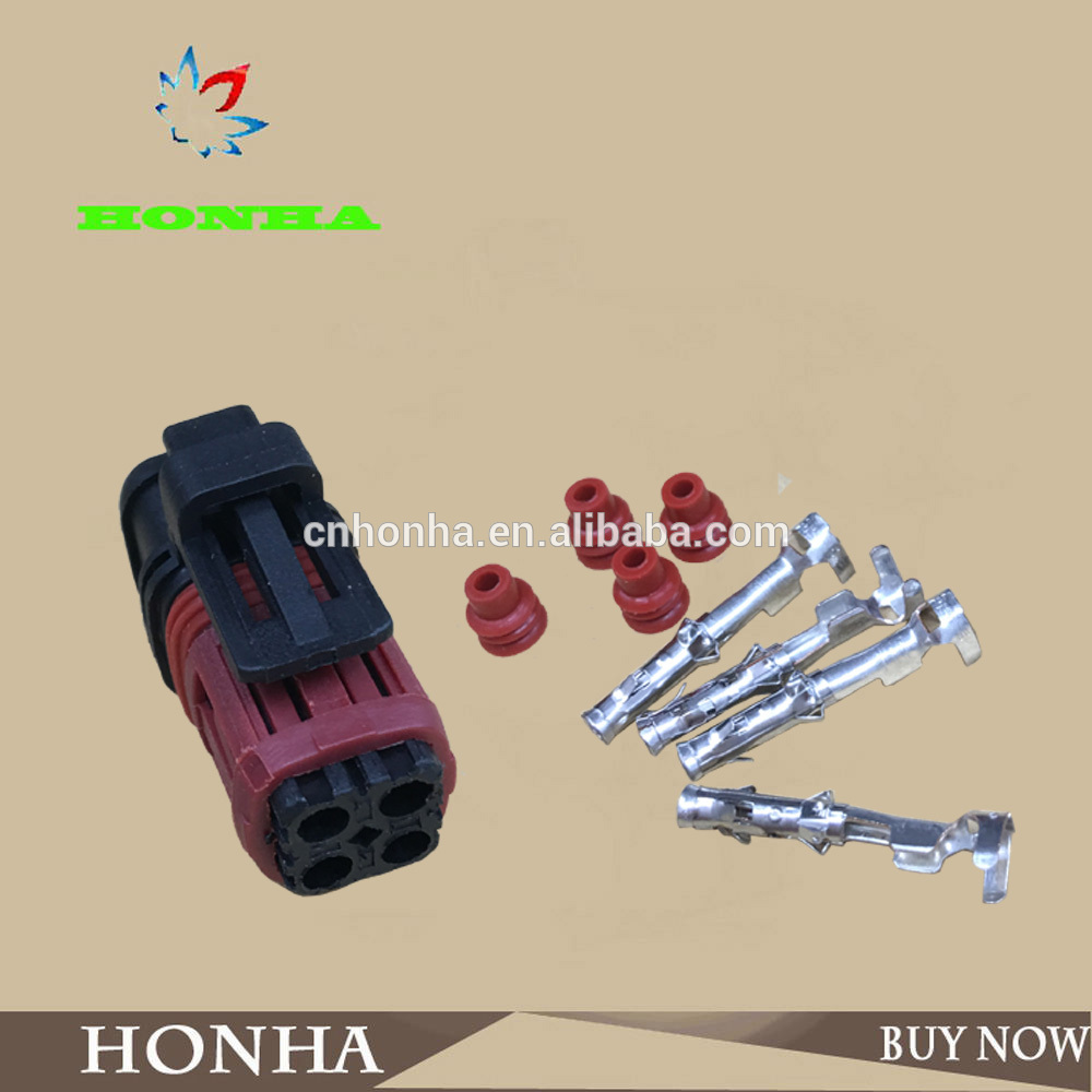 1337352-1 PA66 balck Tyco AMP TE 4 pin female automotive wire harness  connector