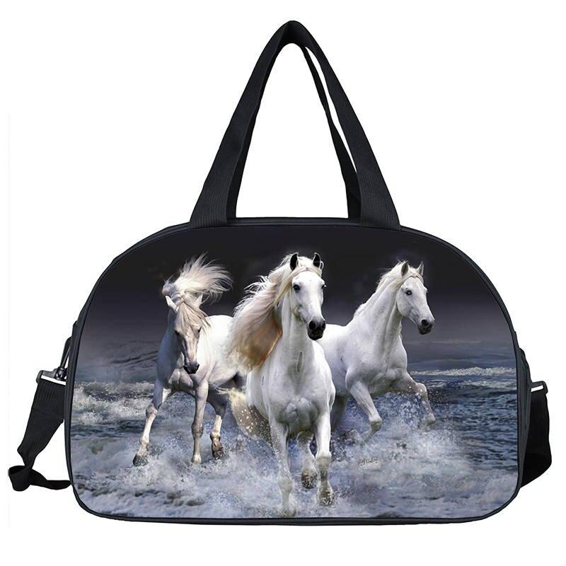 Horse Large Travel Duffle Bags Animal Print Portable Women Handbags Casual Men Travel Bag for Suit 3D Foldable Bag Trip Carry-on