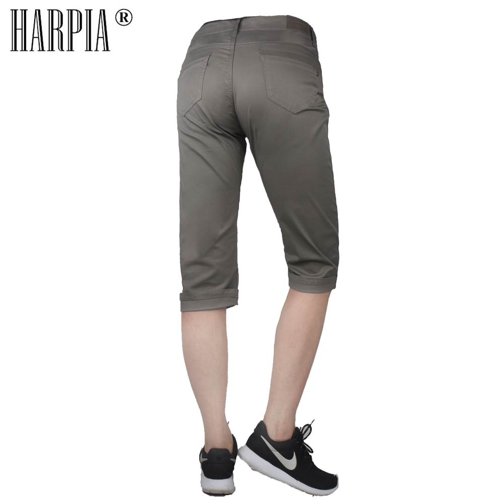 HARPIA Summer Cropped Cotton Stretch Female 3 4 Pants Breeches Knee Length Women Trousers Plus Size 33 42 Capris Pencil Pants in Pants amp Capris from Women 39 s Clothing