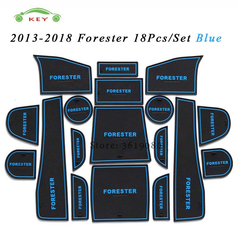 For Subaru Forester 2013-2018 Car Gate Slot Mat Rubber Anti-slip Door Pad Auto Cup Holder Mat Car Interior Decor Accessories 13pcs set for subaru forester 2009 2016 car accessories 3d rubber mat non slip mat interior cup pad door groove mat smabee