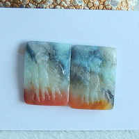 SALE 4 Pairs Of Indonesian Fossil Coral Cabochon Pairs 17x3 21x3mm 22 31g