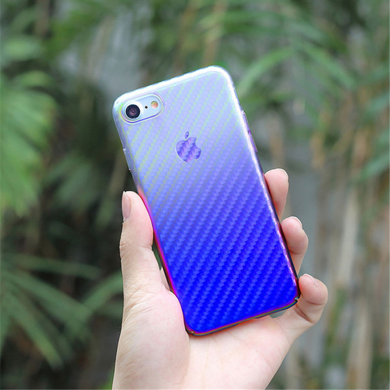Blue Ray Phone Case For iphone X 7 6s Plus iphoneX Gradient Carbon Fiber Back Cover For Samsung Galaxy S8 Case S8 Plus Coque