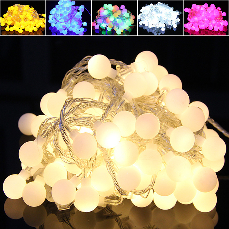Outdoor lighting strings LED globe string lights 2M 5M 10M 1M 10LEDs Decorative Light for Patio Garden Party Xmas Tree Wedding 2 5m 10leds ghost led string lights halloween decoration