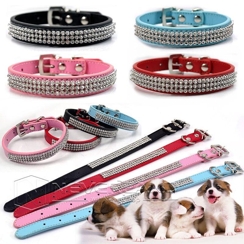 Adjustable PU Kulit Leher Tali Bling Berlian Imitasi Kristal Berlian Kerah Anjing Peliharaan Anjing Kerah M L