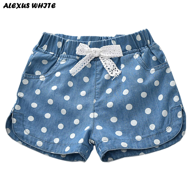 Summer 2018 Girls Denim Shorts Jeans Shorts Children Clothing Lovely Polka Dots Baby Western Cotton Linen Beachwear Pant 2-7Y baby girls shorts jeans hot design summer cotton children s shorts kids denim shorts for girls clothes 2 16 years girl clothing