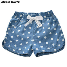 Summer 2018 Girls Denim Shorts Jeans Shorts Children Clothing Lovely Polka Dots Baby Western Cotton Linen Beachwear Pant 2-7Y