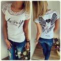 Мода Случайные Свободные Коротким Рукавом Женщины Лето хлопок рубашка топы Бесплатная Доставка