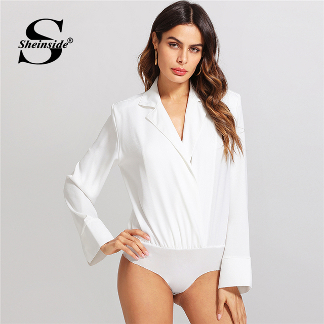 cb0256f58 Sheinside Sexy White Long Sleeve Plain Bodysuit Women Turn down ...