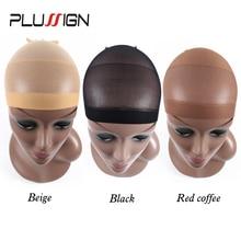 751655924668f Plussign 12 unidades gorros de peluca para hacer pelucas marrón negro media peluca  gorra Snood Nylon malla elástica en 3 colores.