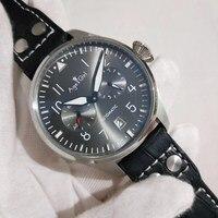Роскошный Новый мужской автоматический механический большой пилот Le Petit Prince 7 дней запаса мощности черный кожаный серый Limied часы с датой