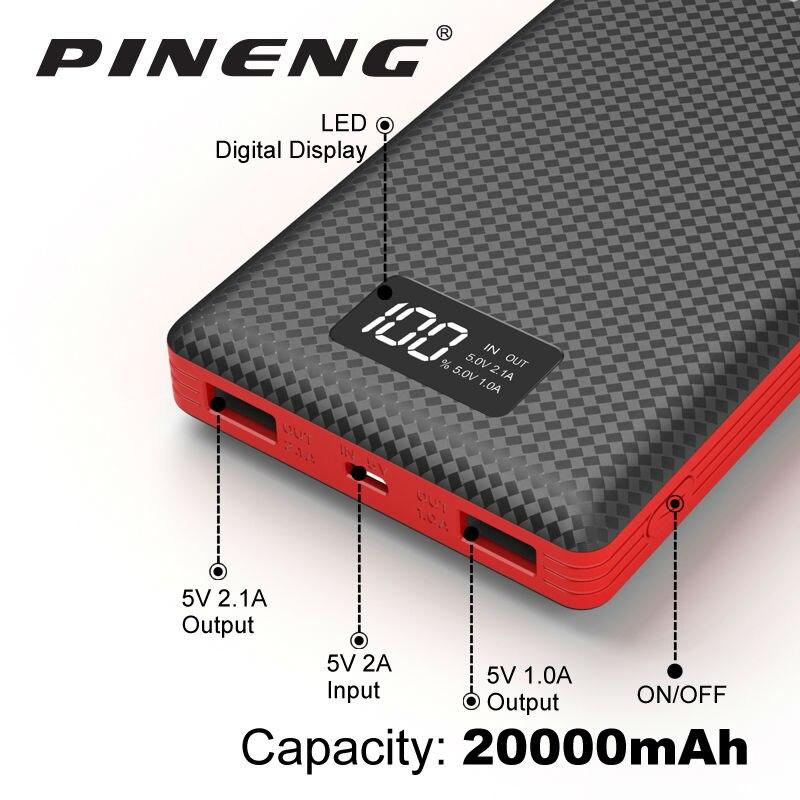 imágenes para Pineng Banco de la Energía 20000 mAh LED Cargador Móvil Portable de La Batería Externa Dual USB para el iphone 5 6 s 6 7 Plus Samsung LG HTC Xiaomi