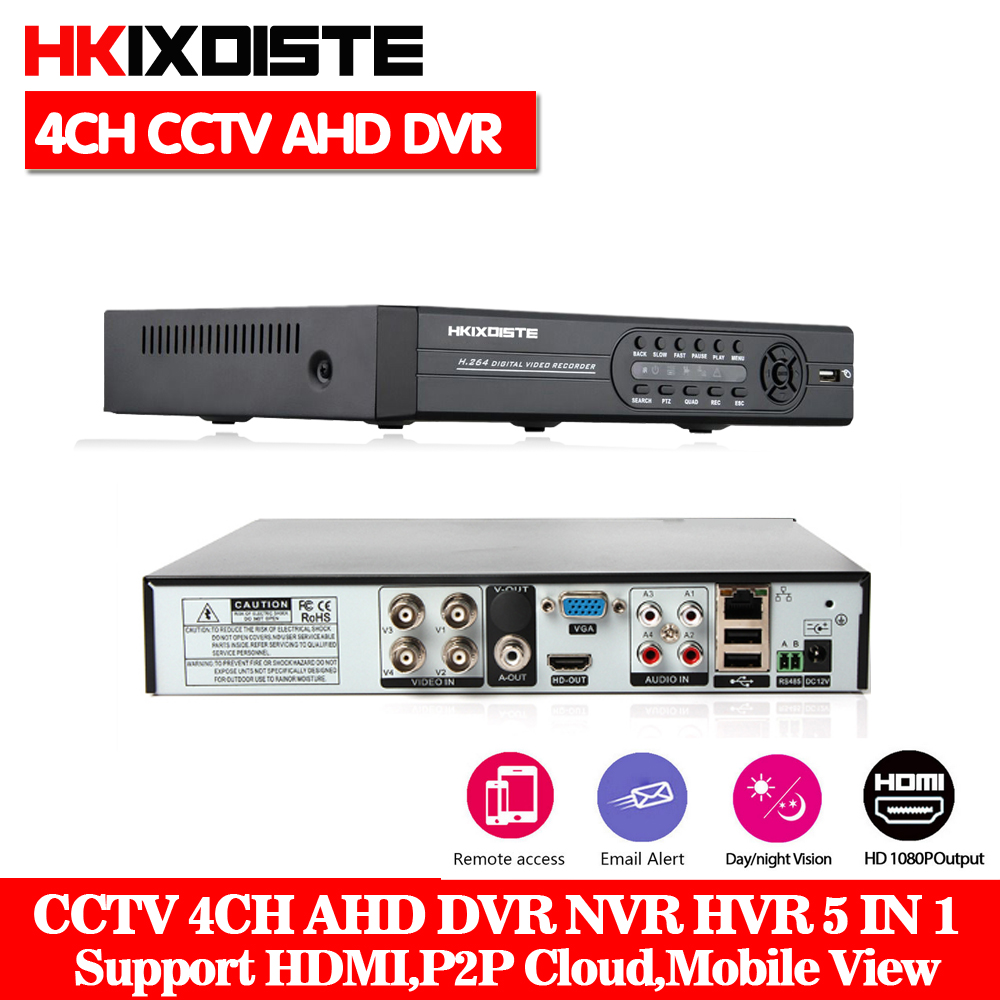 Home Security CCTV AHD DVR 4Ch 1080P Video Recorder 4CH 1080P 5MP NVR Onvif P2P Cloud Work For CCTV Surveillanc AHD Camera