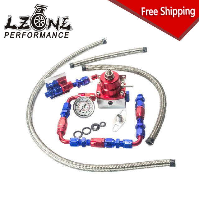 ФОТО LZONE- FREE SHIPPING Universal auto fpr AN6 Fittings fuel pressure regulator For 7MGTE MKIII with hose line.Fittings.Gauge