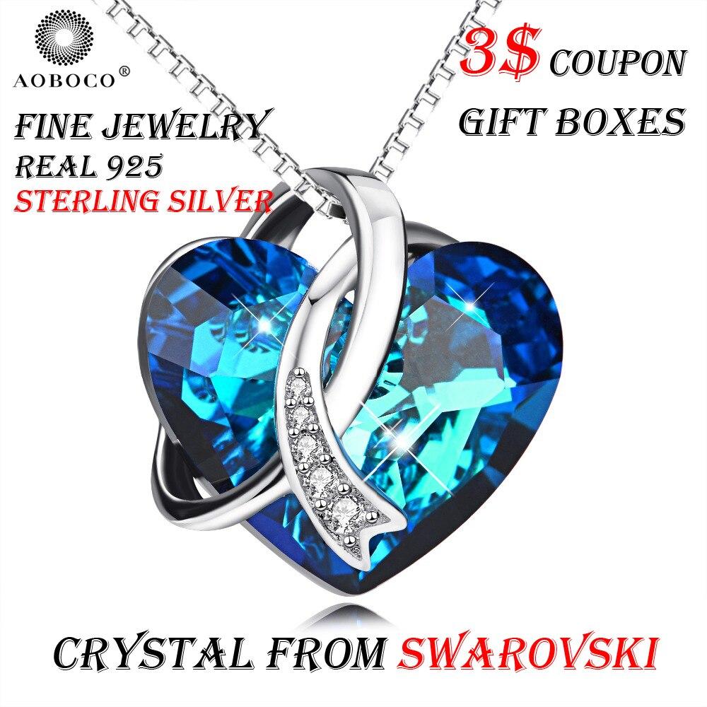 AOBOCO marque Fine bijoux romantique écharpe grand coeur bleu pendentif collier cristal de Swarovski avec coffrets cadeaux pour femmes fille