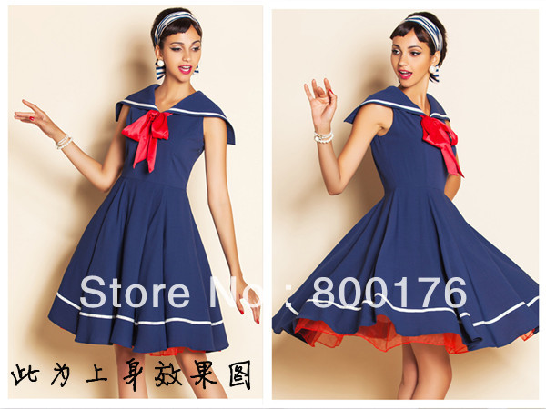 8b367c15de849 Free Shipping New Ladies Styles 50s Rockabilly Vintage Swing Dress Sailor  Navy Blue Vintage Dress Sailor Vintage Dress