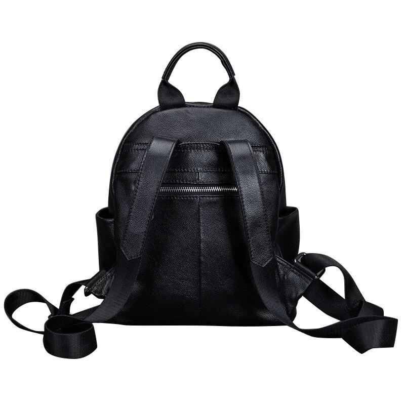 2018 Для женщин рюкзаки новый первый слой кожаная дорожная сумка маленький корейский женский черный натуральная кожа школьница рюкзак - 5