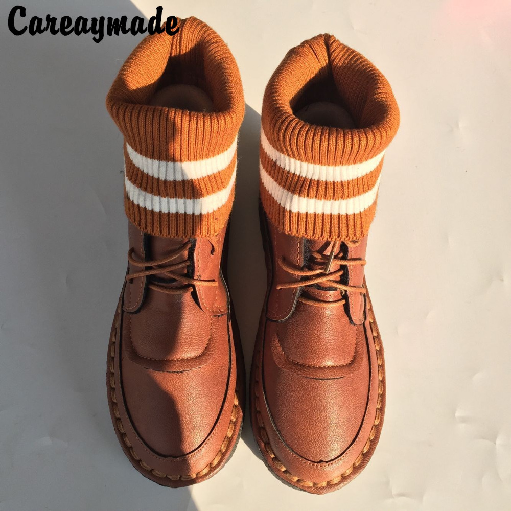 Careaymade-201 new Mori girl literature style boots, pure handmade short soft sole boots,casual Martin women's flat Boots,4color