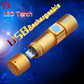 USB Torch Rechargeable CREE Q5 Mini zoom 2000 lumens LED light Internal Lithium Ion battery Ms. portable LED flashlight