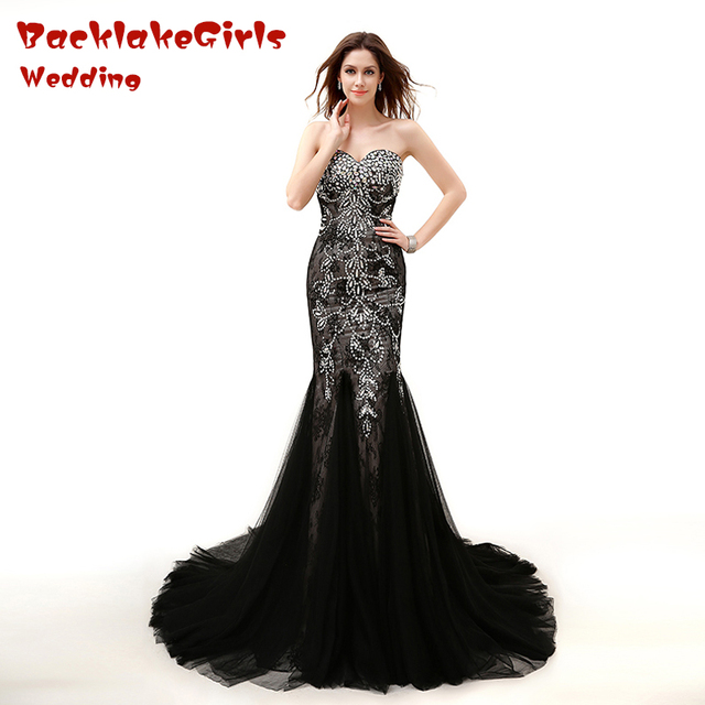 2017 Charming Black Peacock Long Evening Dress Crystal Beads Mermaid Sweetheart Zipper New Customized Porm Celebrity Dresses