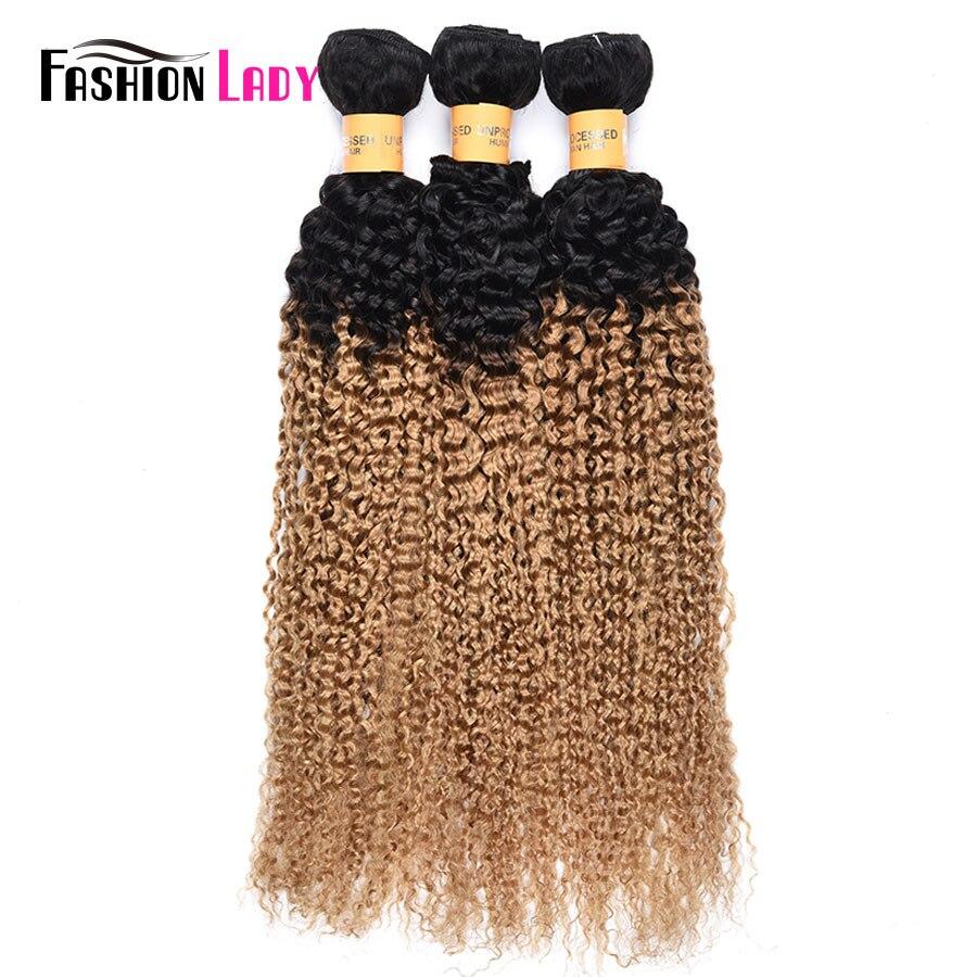Fashion Lady Pre-Colored 3 Bundles Blonde Brazilian Hair Bundles 1b/27 Ombre Curly Weave Human Hair Bundles Non-remy