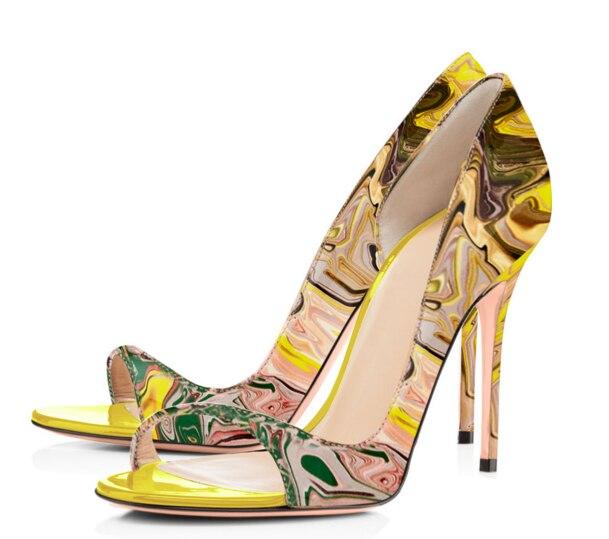 Abierta Caliente Zapatos 4 Leopardos Alta Red Ahueca 7 Las Cm 12 Sandalias leopard Punta Talones 8 2 Hacia black De B6 Fuera 5 3 Stiletto Super Mujeres Tacones RxPIqxf