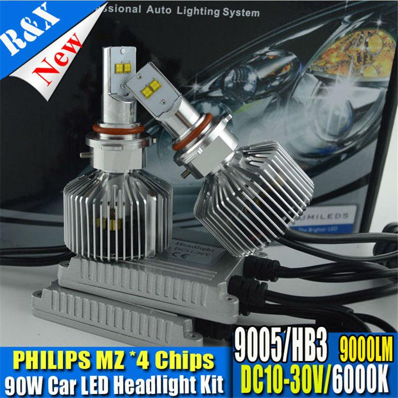 2X9000Lm 90W P6 LumiLEDs LED Car Headlight Fog Light Conversion Kit 9005 HB3 Repl. Halogen HID Xenon Bulb Lamp white