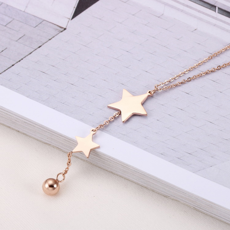 10 PCS/Lot sautoir en acier inoxydable pour femmes étoiles en or Rose collier gland bijoux de mode avec petite boule-in Colliers chaîne from Bijoux et Accessoires    3
