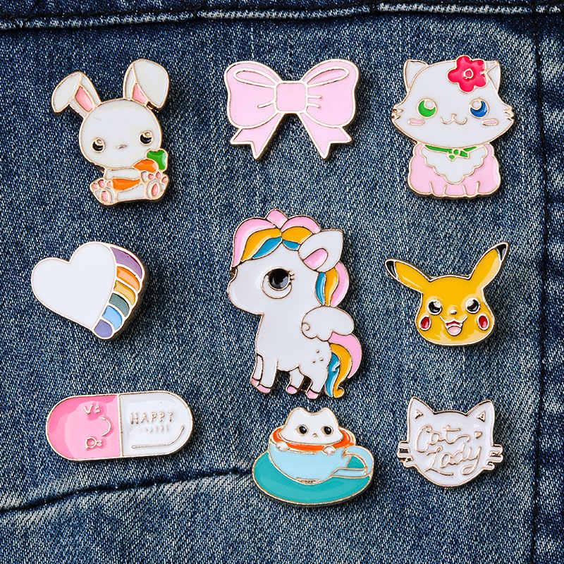 Hohe Qualität 9 Stil Bunte Pferd Kaninchen Katze Herz Emaille Pin Brosche Schmuck Tier Dekoration Denim Jacken Kragen Abzeichen Pins
