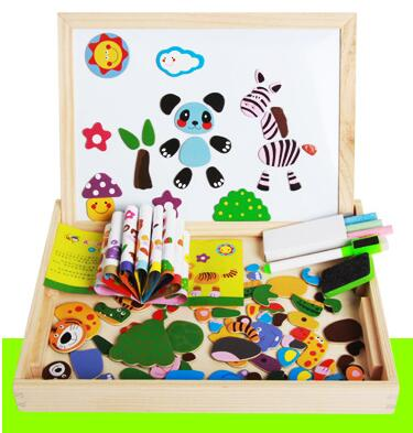4 Kinds Wooden Multifunctional Magnetic Easel Board Jigsaw Puzzle Drawing Board Educational Toys For Kids Farm Magnetic Puzzle