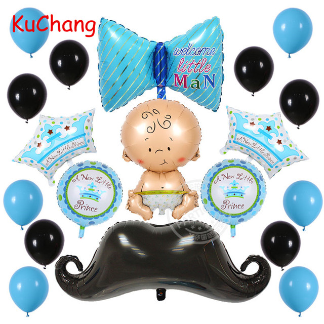 19pcs Lot Baby Shower Crown Mustache Foil Balloons Little Man Happy Birthday Party Beard Bow Helium Balloon Decor Latex Supplies