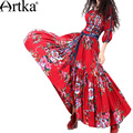 Artka Women's Autumn Ethnic Floral Print Scoop Neck Half Sleeve Cinched Waist Maxi Pleated Dress LA19938C