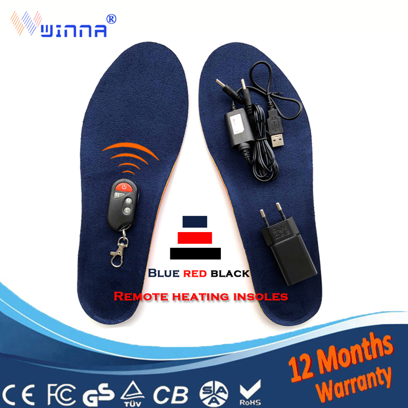 Usb Heating Insoles with Remote Control Battery Powered for Women Shoes Winter ski Ridding Insoles Size