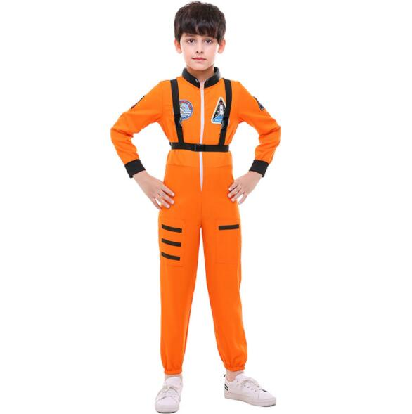 39dcc56aaeea kid boy Halloween Christmas White Orange Astronaut Jumpsuit Costume  Spaceman Cosplay Suit Outfit With Safety Strap A149