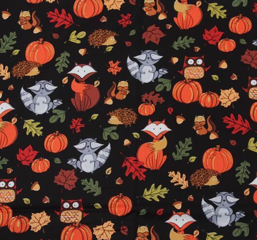 Sale 1pieces Lot 140 50cm Pumpkin And Foxes Series Cotton Fabric