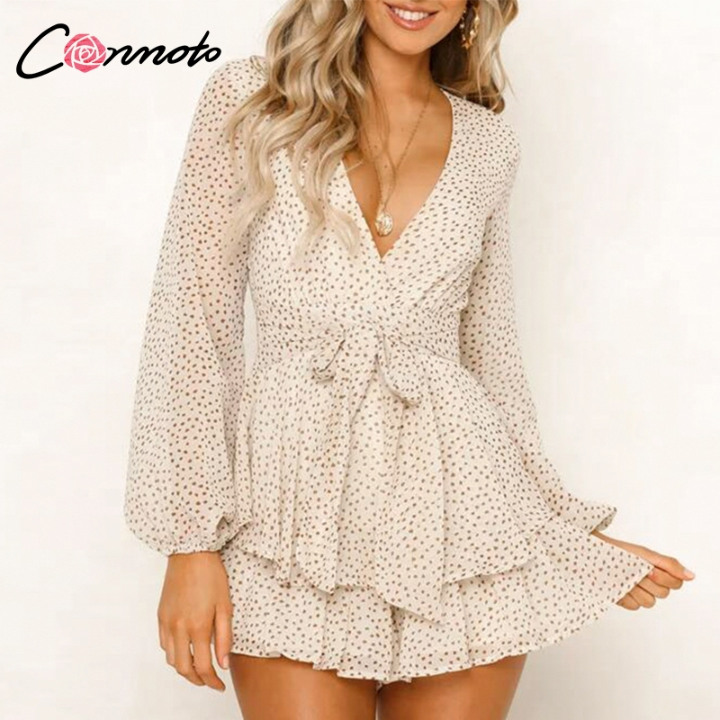 Conmoto Ruffles Bow Chiffon women's   jumpsuit   romper Long Lantern Sleeve Sexy Polka Dot Playsuits Beach Short   Jumpsuits   Summer