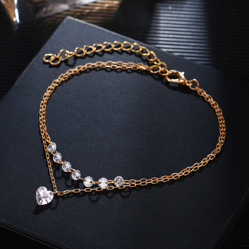 DAXI Bohemian Love Crystal Anklets for Women BOHO Gold Color Chain Bracelet on Leg Beach Ankle Jewelry 2018 NEW Gifts