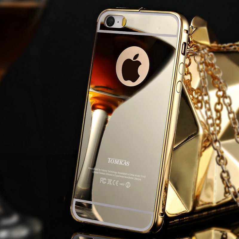 Gold mirror case iphone 5s for Coque iphone 5 miroir