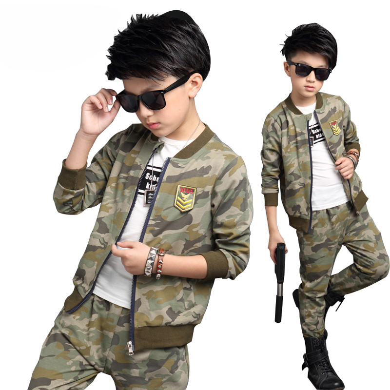 2017 Big Boys Camouflage Sports Suits Spring Tracksuits Teenage Boys Sportswear 4 6 8 10 12 Years Children Clothing Sets boys camouflage sports suits 2017 new autumn cotton boys long sleeve sportswear 2 pcs set children clothing 3 5 7 9 11 14 y 6