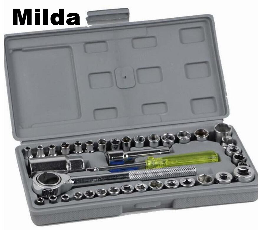 Milda 40pc Spanner Socket Set 1/4 Car Vehicle Motorcycle Repair Ratchet Wrench Set Cr-v hand tools Combination Bit Set Tool Kit