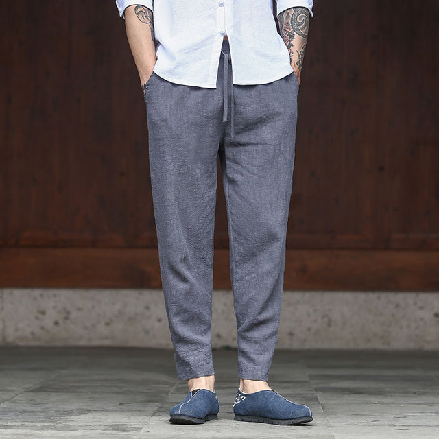 color sólido suelta chinos Pantalones hombres Lino casual harem Pantalones moda 3 Jogger retro algodón colores zwx1TYvnP