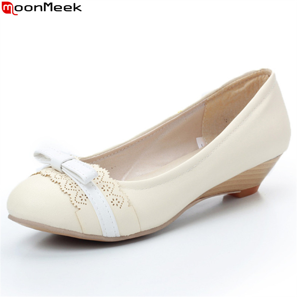 MoonMeek 2018 fashion spring autumn shoes woman casual round toe pumps women shoes shallow wedges shoes med heels shoes xiaying smile woman pumps shoes women spring autumn wedges heels british style classics round toe lace up thick sole women shoes
